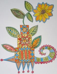 Quilt block tower with flower