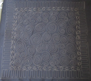 Often you can see the quilting even better on the back.  The solid black fabric really shows off the quilting.