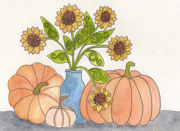 Pumpkins and Sunflowers