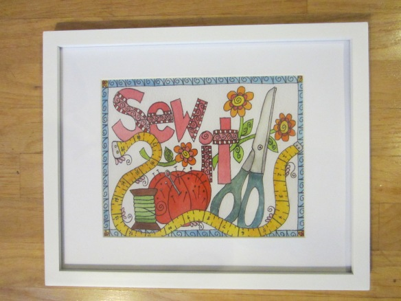 "Sew It by Pam Schoessow bluepumpkinstudio.com 8"" x 10"" print  $14"