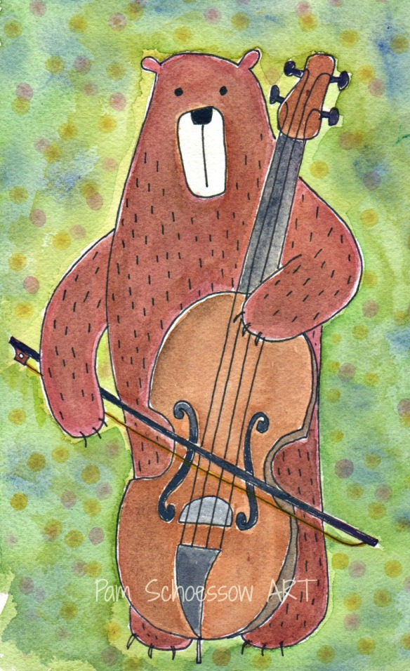 original watercolor on paper by Pam Schoessow  Making Music Series
