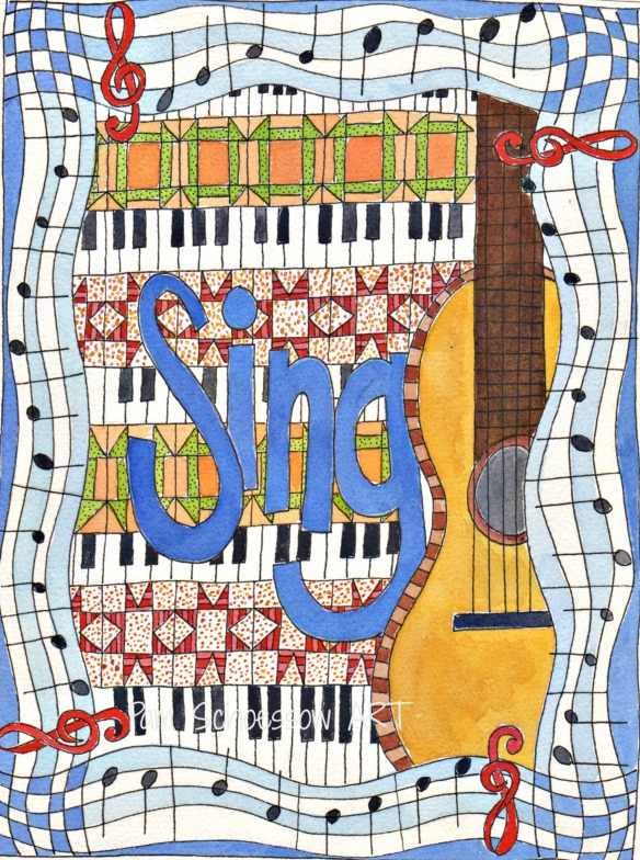 Sing Along  watercolor on paper by Pam Schoessow
