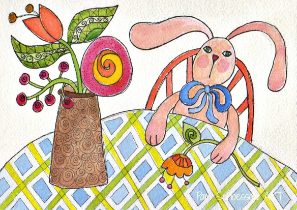 "Is he waiting for his Valentine?     Bunny with Flowers 5"" x 7"" on watercolor paper by Pam Schoessow"