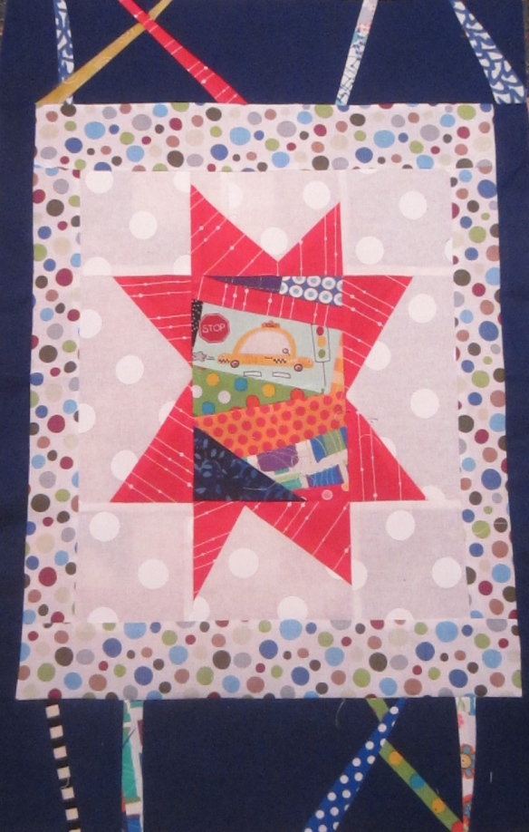Improvisational pieced block by Pam Schoessow