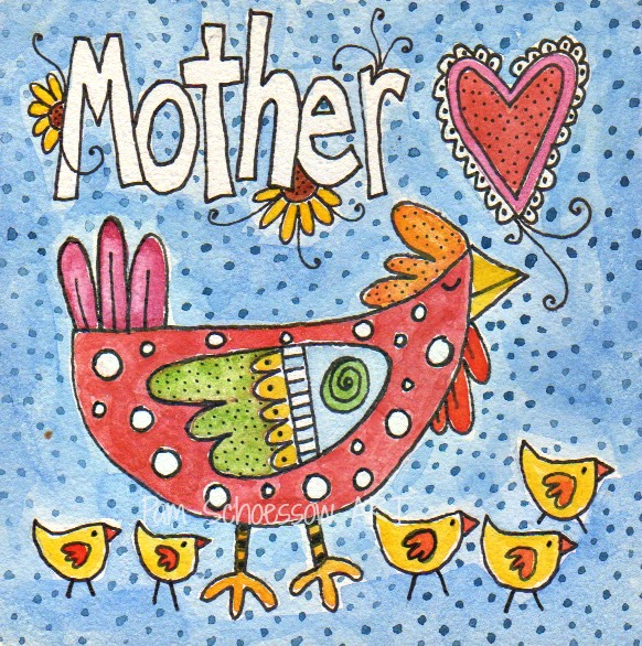 "Mother Love  original watercolor by Pam Schoessow 4"" x 4"" on board."