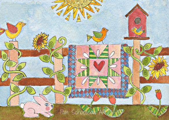 Summer Quilting 5 x 7 watercolor on paper by Pam Schoessow
