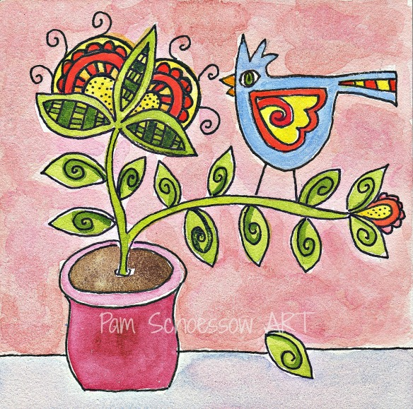"""Out on a Limb  4""""x4"""" by Pam Schoessow"""