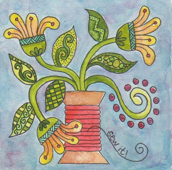 "Spool Flowers 4"" x 4"" by Pam Schoessow"