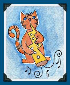 Cat playing Lightning Bolt Horn  by Pam Schoessow