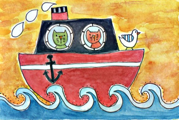 Cats at Sea--a Sunset Cruise by Pam Schoessow