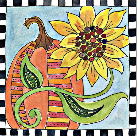 "Pumpkins and Sunflowers by Pam Schoessow   6"" x 6"" on aquabord   $40"