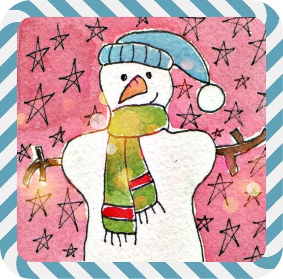 Snowman pink stars